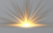 Sunrise. Sunlight Special Lens Flash Light Effect On Transparent Background. Effect Of Blurring Light. Vector Illustration