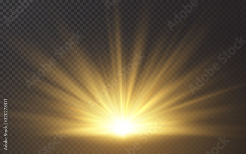 Fototapeta Sunlight special lens flash light effect on transparent background. Effect of blurring light. Vector Illustration obraz