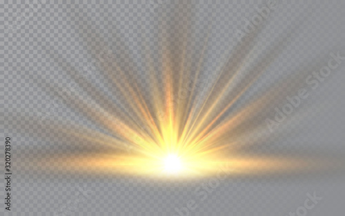 Fototapeta Sunrise. Sunlight special lens flash light effect on transparent background. Effect of blurring light. Vector Illustration obraz