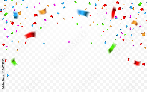 Obraz Colorful confetti. Celebration carnival falling shiny glitter confetti. Luxury greeting card. Vector illustration - fototapety do salonu