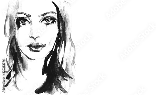 Black and white portrait of woman Wallpaper Mural