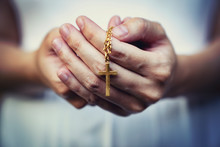 Woman Hands Praying Holding A ...
