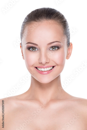 Obraz Beautiful face of smiling  woman with clean fresh skin - fototapety do salonu