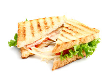 Tasty Sandwiches With Cheese And Ham On White Background