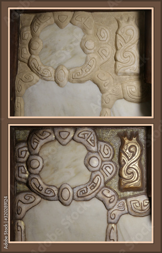 Sculpture bas-relief before and after painting Canvas Print
