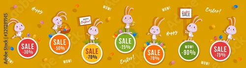 Easter discounts set of round banners with cute bunnies and Easter eggs Canvas Print