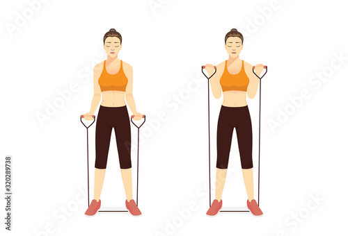 Stampa su Tela Woman using equipment for exercise with Resistance Band Bicep Curl in 2 step