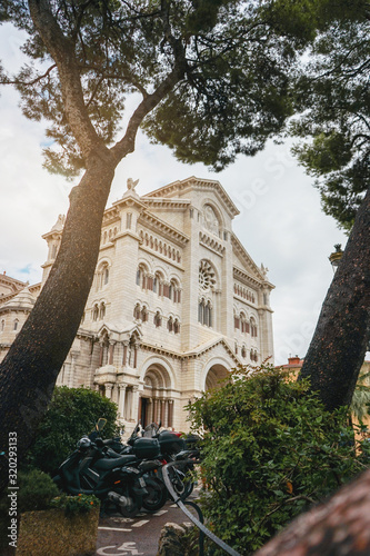 Exterior of the Monaco Cathedral in Monaco-Ville. Beautiful bright church. Cathedrale de Monaco.