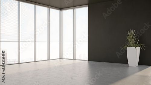 Obraz large luxury modern minimal bright interiors room mockup illustration 3D rendering - fototapety do salonu