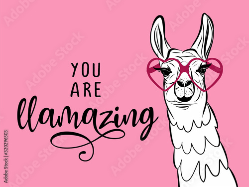 You are llamazing - funny vector quotes and llama drawing. Lettering poster or t-shirt textile graphic design. / Amazing llama character illustration on isolated pink background.