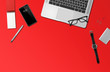 Leinwanddruck Bild - Office desk mockup top view isolated on red
