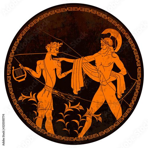 Greek vase painting concept Wallpaper Mural