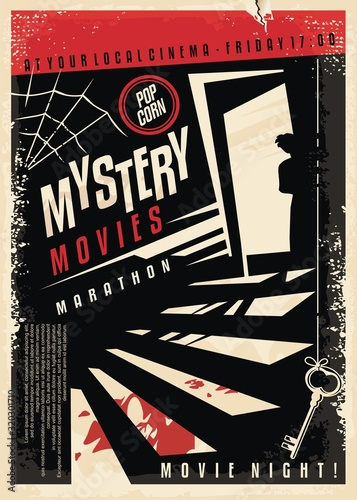 Fotografía Mystery movies cinema poster design with strange silhouette looking through the basement door at blood on the stairs