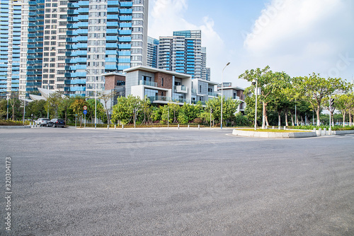 Fototapety, obrazy: Guangzhou city high-rise buildings and empty pavement