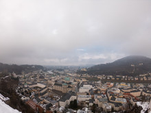 Aerial View Of Salzburg Old Town And Hohensalzburg Fortress. View On City And River From Above