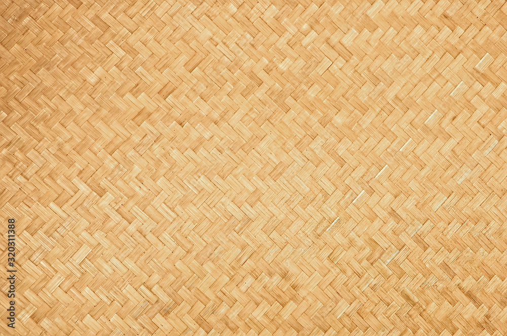 Fototapeta Handcraft natural woven bamboo texture background