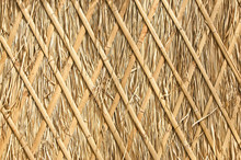 Close Up Of Thatch Roof Background, Hay Or Dry Grass Background, Thatched Roof, Grass Hay, Dry Straw, Roof Background Texture.