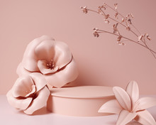 3d Render Pink Abstract Background, Minimal Pastel Podium Display Scene