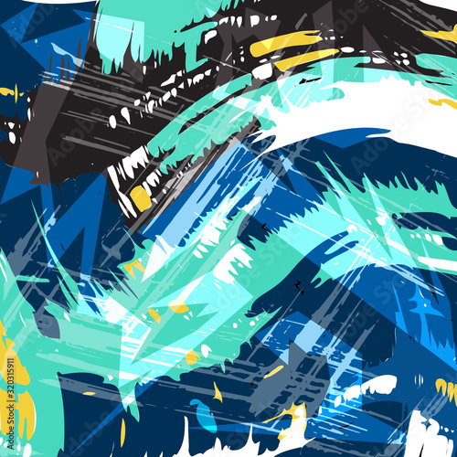 geometric abstract pattern in ethnic style graffiti style in a beautiful bright color for your design