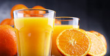 Glasses with freshly squeezed orange juice