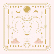 Zodiac Sign - Aries And Its Planet Ruler Mars. Thin Linear Vector Design.