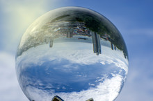 High Angle View In A Crystal Ball From A Mountain In Si Racha District, Chon Buri Province, Thailand