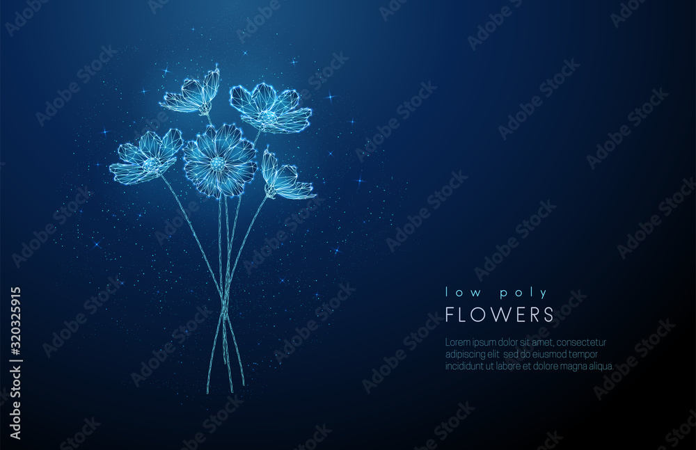 Fototapeta Abstract low poly blooming bouquet of flowers.