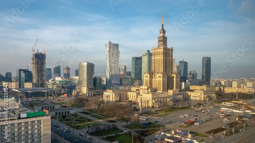 Fototapety, obrazy: Aerial photo of Warsaw city skyline in Poland. January 2020.