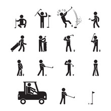 People Playing Golf Icon Set. ...