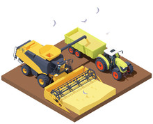 Vector Isometric Combine Harvester And Tractor At Harvest. Combine Loading Wheat Harvest In Trailer. Wheat Harvesting Process, Combine Filling Tractor Trailer With Grain