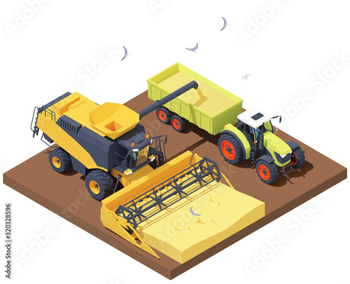 Fototapeta Vector isometric combine harvester and tractor at harvest. Combine loading wheat harvest in trailer. Wheat harvesting process, combine filling tractor trailer with grain obraz