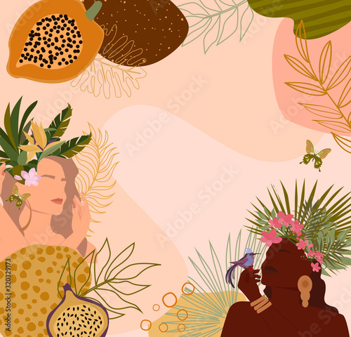 Abstract background with paradise women portrait and tropical plant, abstract shapes, minimalistic style. Editable Vector illustration. - 320329173