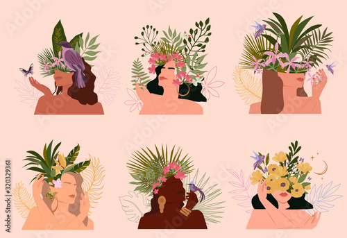 Collection of paradise women abstract portrait with different skin colour and tropical plant, minimalistic style Canvas