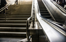 Closeup Mechanical Escalators ...