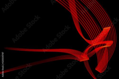 Obraz Czarne tło, czerwone linie, led lines - fototapety do salonu