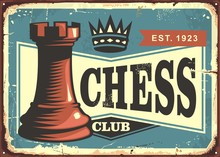 Chess Club Retro Tin Sign Boar...