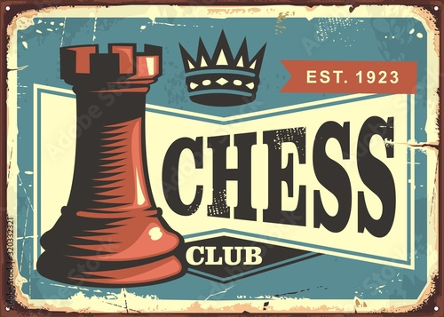 Fototapeta Chess club retro tin sign board design layout. Vintage poster template with chess figure on blue background. Vector illustration. obraz