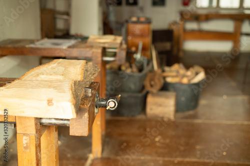Werkbank in einem Atelier Canvas Print