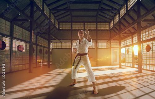Fototapeta Karate fighters on tatami at sunrise. Japanese hall.