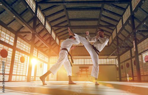 Obrazy Karate   karate-fighters-on-tatami-at-sunrise-japanese-hall