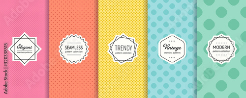 Photo Vector dots seamless patterns collection