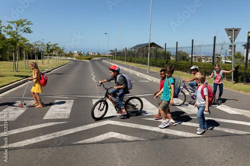 Fotografiet Group of schoolchildren on a pedestrian crossing