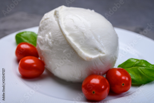 Fototapeta Cheese collection, soft white Italian mozzarella di bufala campana with fresh green basil leaves and red cherry tomatoes obraz
