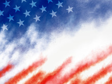 USA Or American Flag Paintbrush Banner On White Background Illustration
