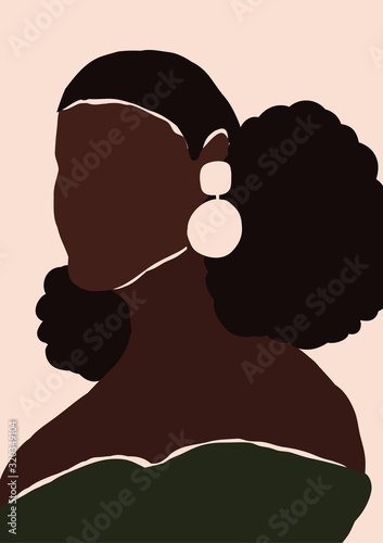 Abstract modern young african american black woman portrait silhouette. Fashion minimal trendy people face in paper cut mosaic flat style. Trendy minimal poster print. Vector hand drawn illustration Fototapete