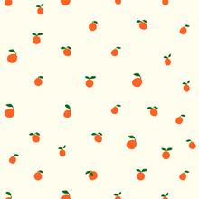 Oranges Cute Pattern,orange Seamless Design,nordic Simple Aesthetic,summer Fruit,vector