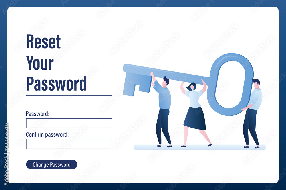 Fototapeta Reset password landing page. Various business characters with big key.