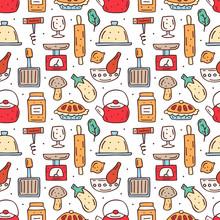 Kitchen Elements Cute Doodle H...