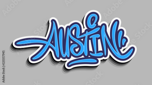 Photo Austin Texas Usa Hand Lettering Sticker Design.
