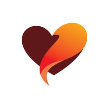 Red Love Fox Tail Logo Design